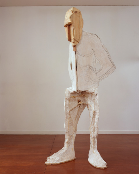 Man, 2007, Tuf-cal, hemp, iron, graphite, 259.1 x 111.8 x 99.1 cm