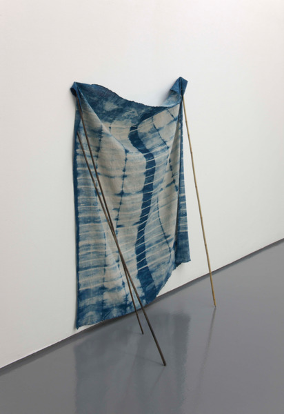 Shibori, 2010, Indigo dyed linen fabric, cane and paint, 160 x 150 x 60 cm