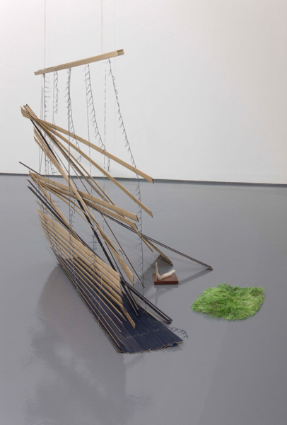 One Clouded Stream, 2010, Blind, iron gall ink, balou hardwood, linen thread, linen fabric and deer horn, 135 x 100 x 150 cm