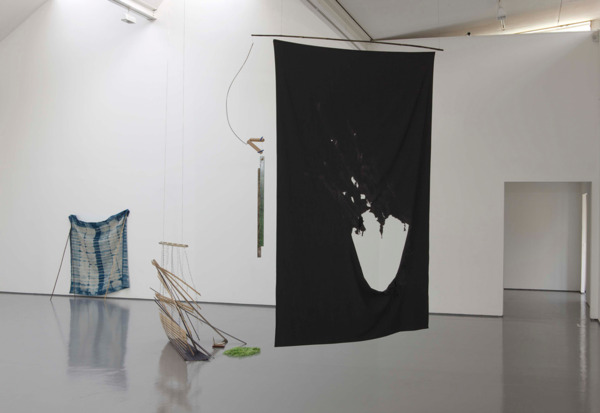 Faded by the Spring, 2010, Bamboo, suiting fabric (wool), wood, metal, flat cane, linen thread, paint and ink, 300 x 170 x 40 cm