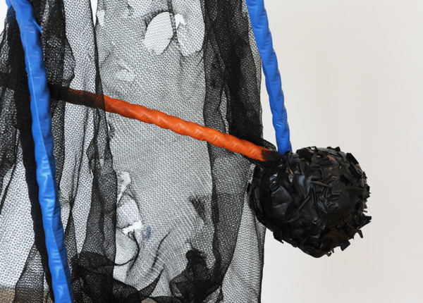 Cross Block Split, 2014 (detail), Corrugated PVC sheeting, rope, electrical tape, paint and debris netting, 10 x 10 meters