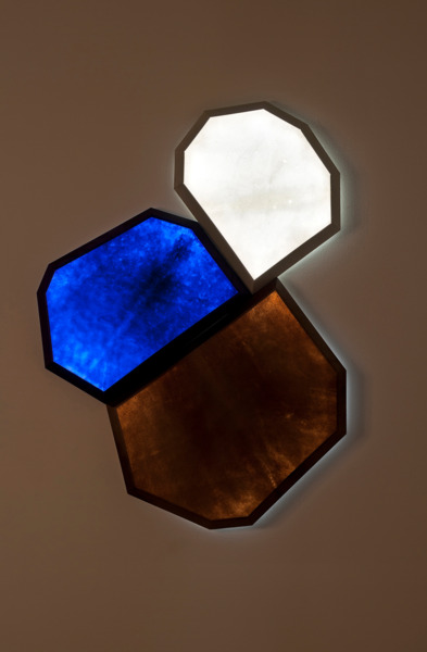 Percorino Light #04, 2013, Parchment, moulding in beech, plywood, led, 95 x 95 x 6 cm