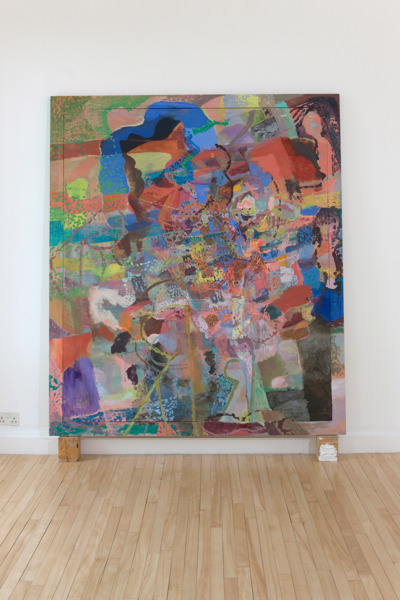 Victoria Morton, ba BA ba, 2008, Oil on canvas, wooden frame and wood blocks, Painting: 218 x 188 x 4.5 cm, Blocks: 15 x 12.5 x 9.5 cm