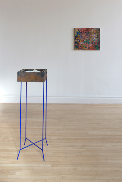 Victoria Morton, Untitled, 2010, Metal box, oil paint, clay, metal stand, 100 x 40 x 30 cm