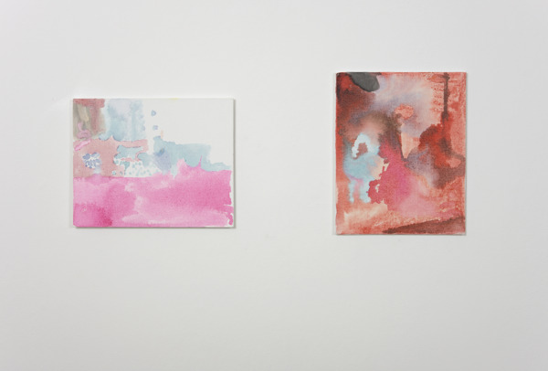 Victoria Morton, Pregnant Woman (left), 2009, Ink on canvas board, 26 x 20 cm, and, Child, 2009, Ink on canvas board, 26 x 20 cm