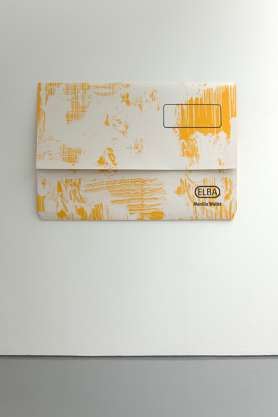 Scott Myles, Untitled (ELBA white and yellow), 2012, Unique screenprint on paper, 135 x 194 x 16 cm