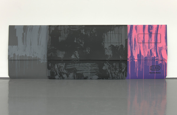 Scott Myles, Untitled (ELBA grey, black, pink and purple), 2012, Unique screenprint on paper, 135 x 388 x 16 cm