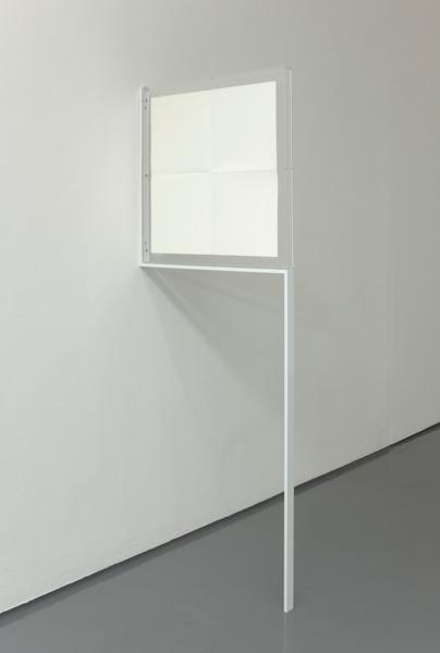 Scott Myles, Untitled, 2012, Felix Gonzalez-Torres poster, perspex, steel, paint, 185.6 x 68.6 x 4 cm