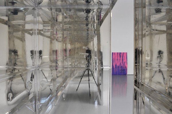 Scott Myles, Analysis (Mirror), 2012 (detail), Found object, silver, UV lacquer, 459 x 374 x 127 cm, Installation view, 'This Production', DCA, Dundee, 2012