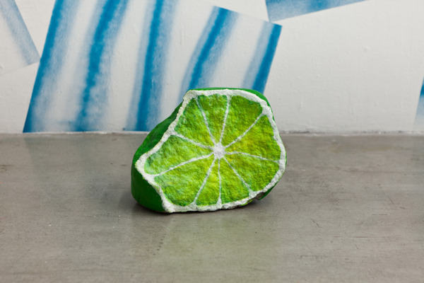 Nicolas Party, Blakam's stone (lime), 2012, Acrylic on stone, 30.5 x 25.4 x 15.2 cm, Installation view, 'Still Life, Stones and Elephants', Swiss Institute, New York, 2012