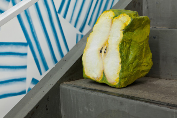 Nicolas Party, Blakam's stone (pear), 2012, Acrylic on stone, 24.1 x 15.2 x 15.2 cm, Installation view, 'Still Life, Stones and Elephants', Swiss Institute, New York, 2012