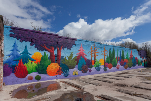 Nicolas Party, Landscape, 2013, Spray paint on wall, 600 x 3000 cm, Exterior view '157 Days of Sunshine', The Bothy Project at the Walled Garden, 2013