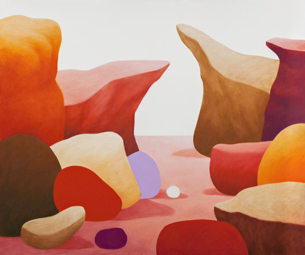 Nicolas Party, Rocks, 2014, Pastel on canvas, 155 x 185.7 x 6.7 cm