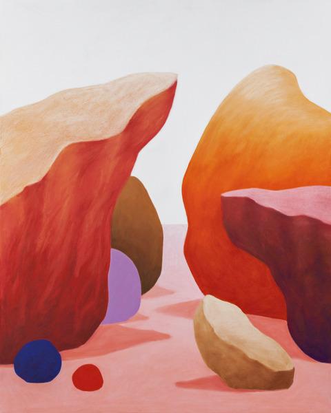 Nicolas Party, Rocks, 2014, Pastel on canvas, 155 x 125.5 x 6.7 cm