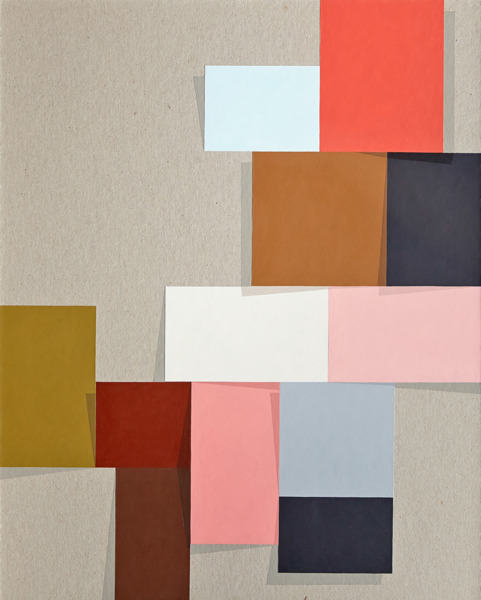 Toby Paterson, Corner Cluster 3, 2014, Acrylic and collage on board, 45.5 x 38.5 x 3.5 cm