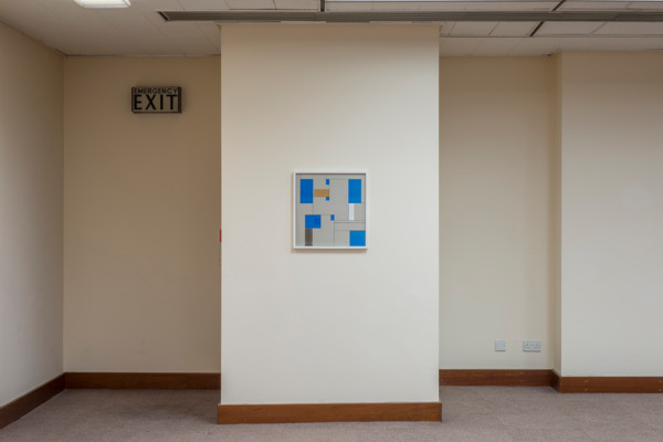 Toby Paterson, Allocation (Blue), 2014, Acrylic and Pencil on Greyboard and Aluminium, 50 x 52 cm, Installation view 'Ludic Motif', Trongate, Glasgow, 2014