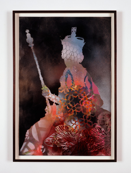 Simon Periton, Bonfire, 2006, Spray paint on paper, 82 x 56.4 x 3.9 cm