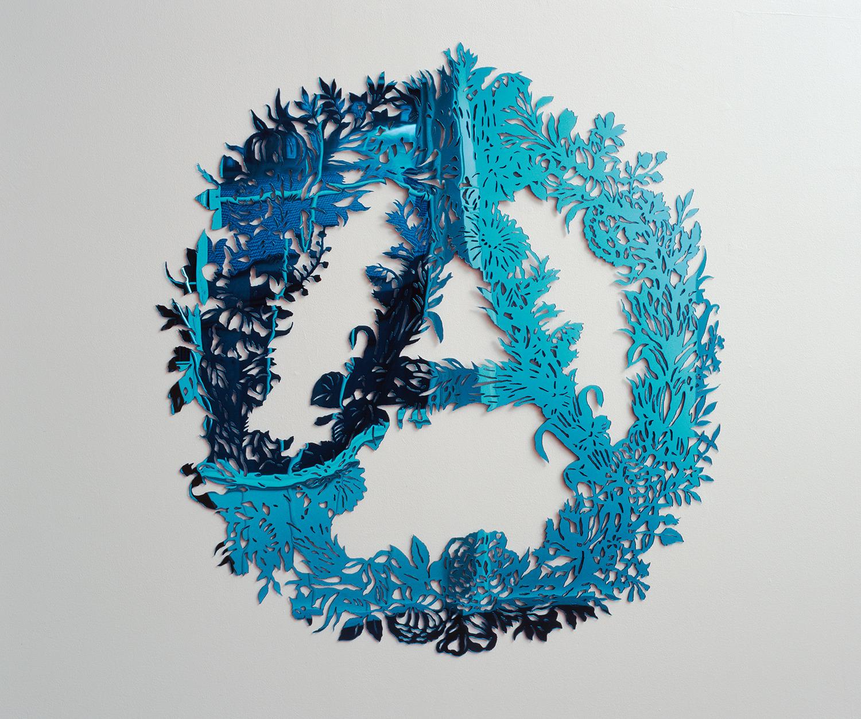 Simon Periton, Addi, 2006, Blue mirrored perspex, 105 x 101 x 3 cm