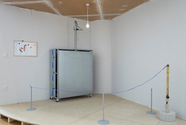 Manfred Pernice, Tutti, 2009 - 2011, Wood panel, steel, various objects, photography, 91 x 102 cm, Installation view 'baldt1', Modern Art, Oxford, 2010