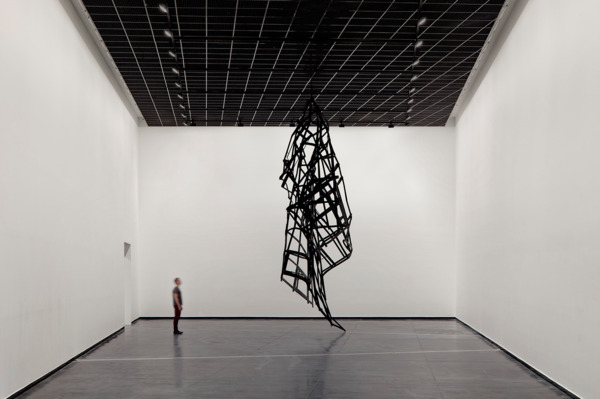 Monika Sosnowska, Facade, 2013, Painted steel, 728 x 510 x 210 cm, Installation view, 'Regional Modernities', ACCA, Melbourne, 2013