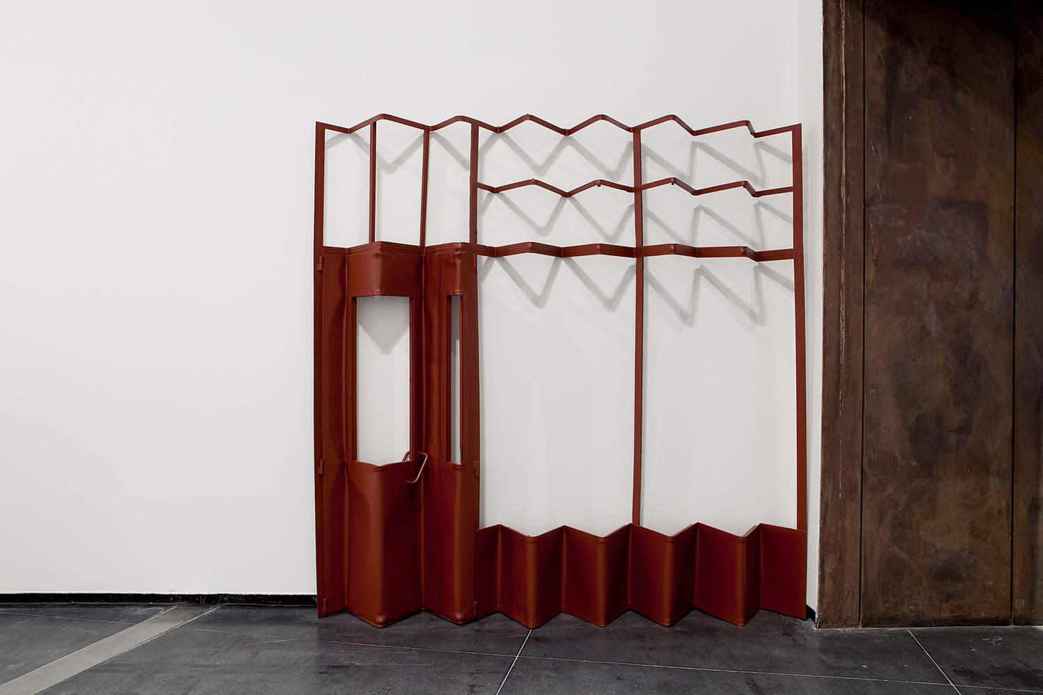 Monika Sosnowska, Screen, 2012, Painted steel, 273 x 273 x 31 cm, Installation view, 'Regional Modernities', ACCA, Melbourne, 2013
