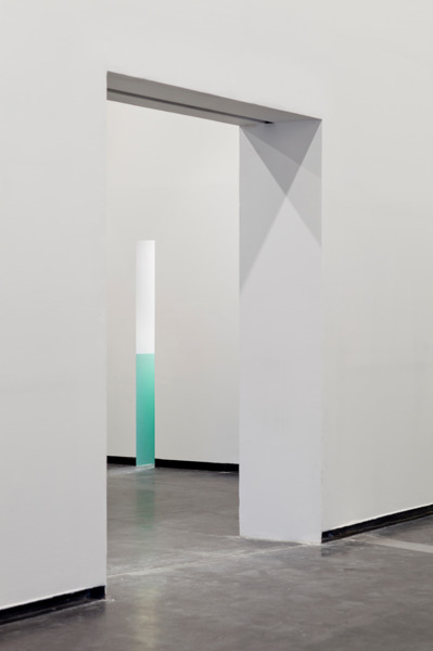 Monika Sosnowska, Corridor, 2013, Plaster board, glass, metal, plastic, paint, fluorescent light, 240 x 974 x 25 cm, Installation view, 'Regional Modernities', ACCA, Melbourne, 2013