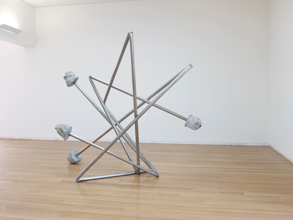 Monika Sosnowska, Untitled, 2012, Stainless steel, concrete, 260 x 375 x 234 cm