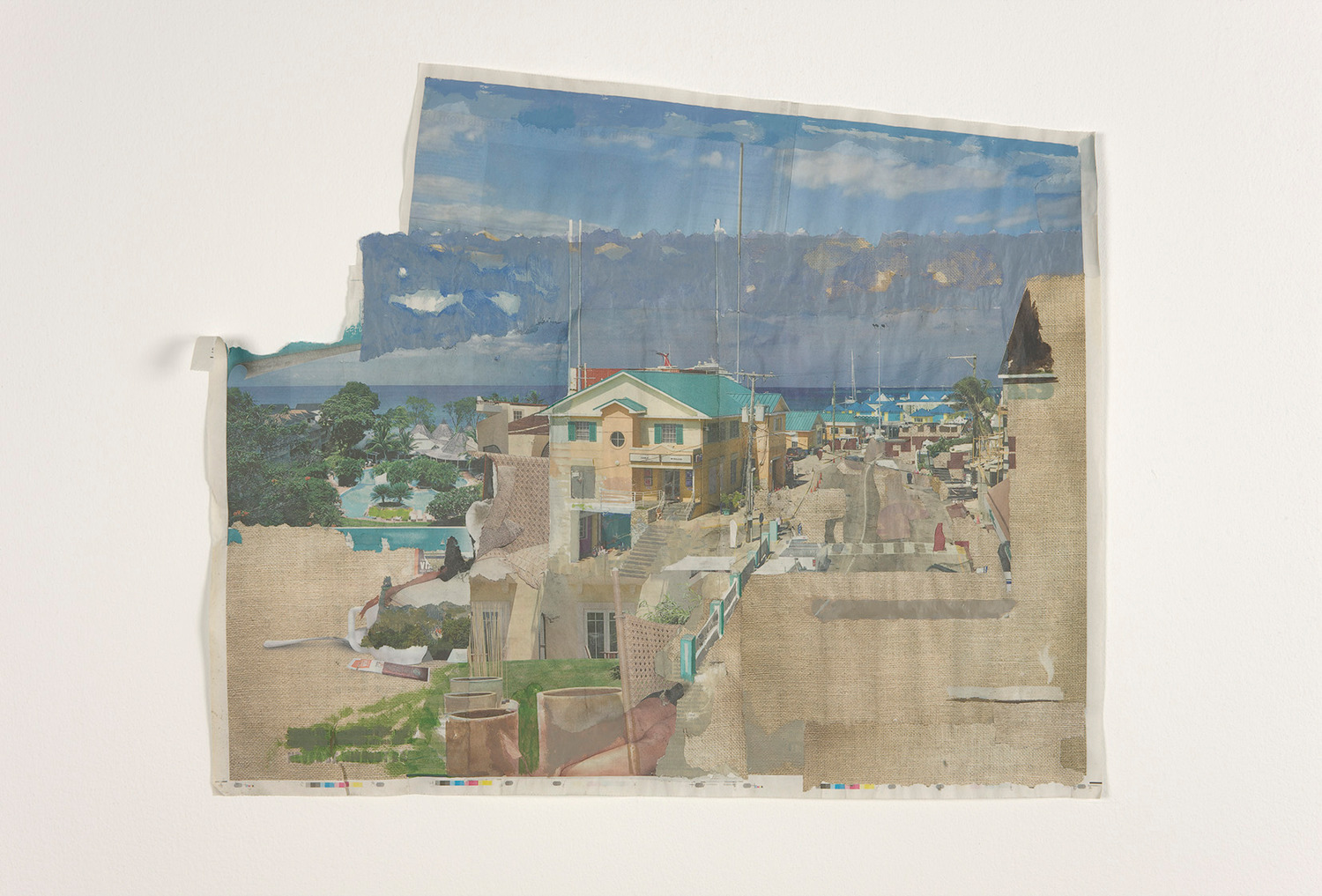 Tony Swain, As universal as revenue, 2012, Acrylic on pieced newspaper, 59.5 x 71.5 cm