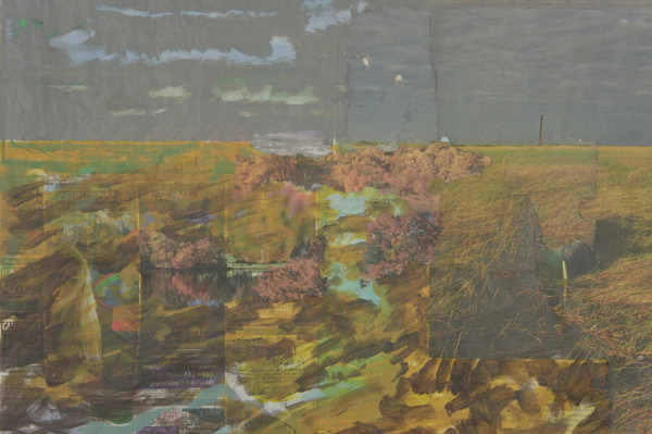 Tony Swain, Host Rain, 2012 (detail), Acrylic on pieced newspaper, 45 x 63 cm