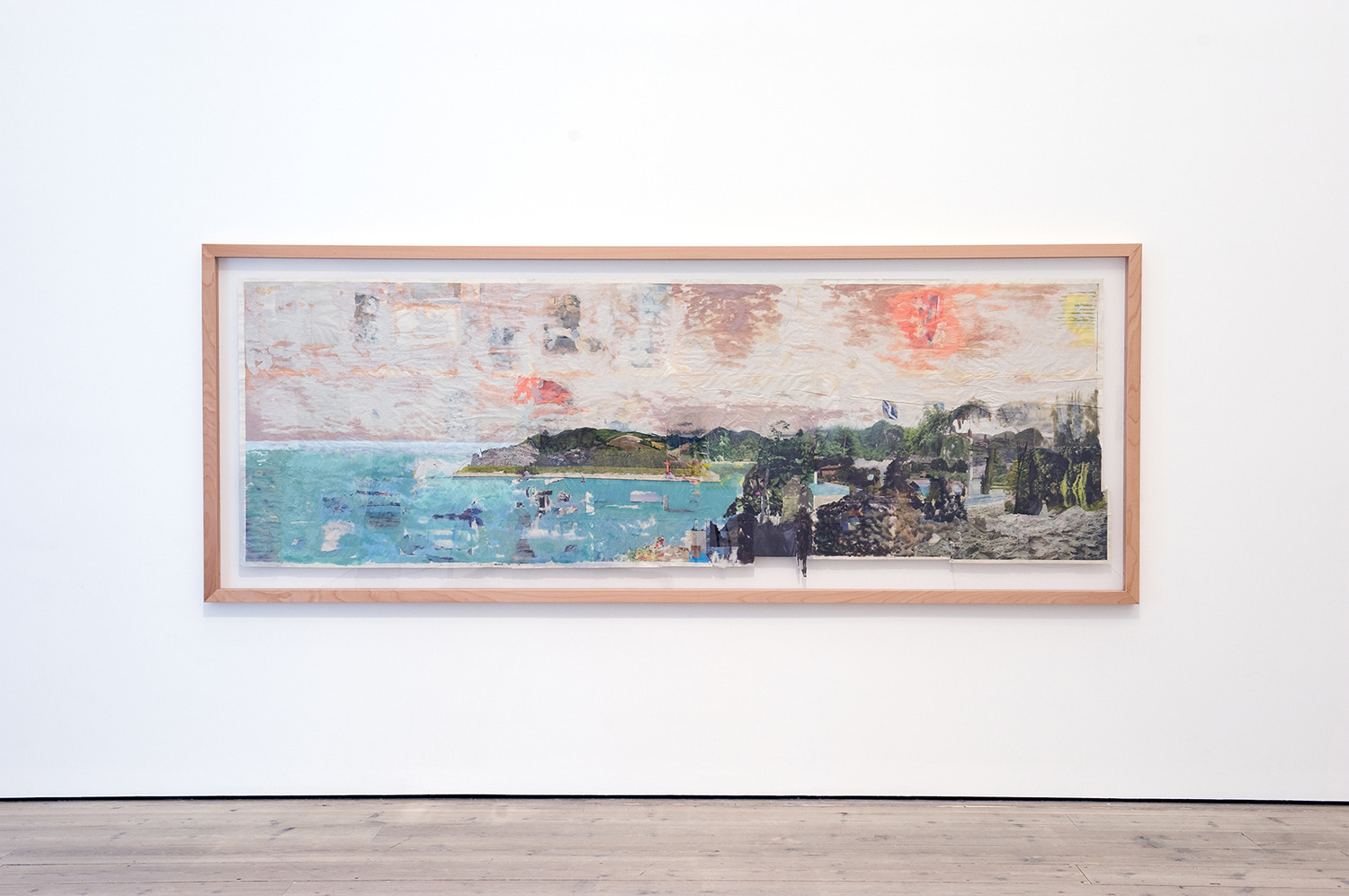 Tony Swain, Clues in Formation, 2011, Acrylic on pieced newspaper, 119 x 335 cm