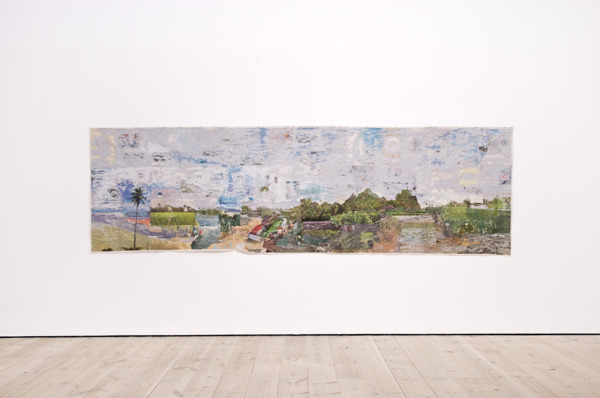 Tony Swain, As well, 2012, Acrylic on pieced newspaper, 132 x 446 cm