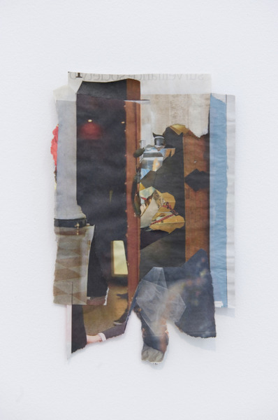 Tony Swain, The Tourist in the Room, 2012, Acrylic on pieced newspaper, 24 x 15.5 cm