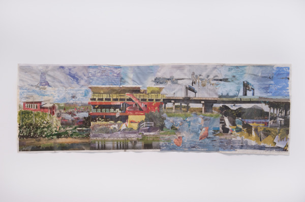 Tony Swain, Hotels for rivals, 2014, Acrylic on pieced newspaper, 77 x 228 cm