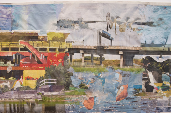 Tony Swain, Hotels for rivals, 2014 (detail), Acrylic on pieced newspaper, 77 x 228 cm