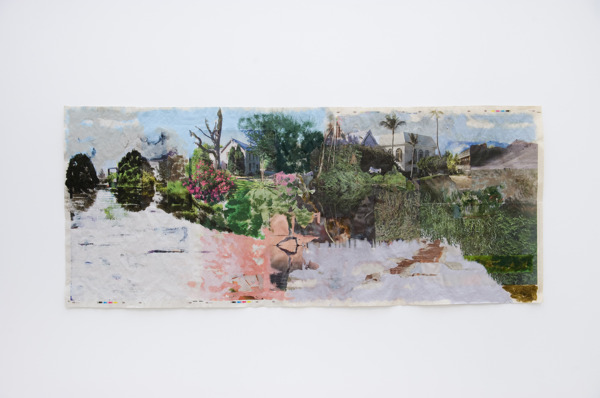Tony Swain, Untitled, 2015, Acrylic on pieced newspaper, 47 x 110.7 cm