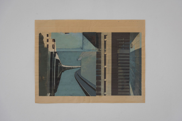Tony Swain, Detained at the centre, 2008, Acrylic on pieced newspaper, 43.5 x 57 cm