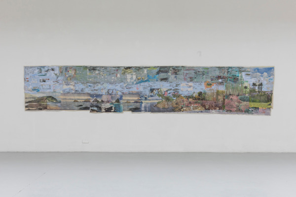 Tony Swain, Time as a visit, 2014, Acrylic on pieced newspaper, 121 x 600 cm
