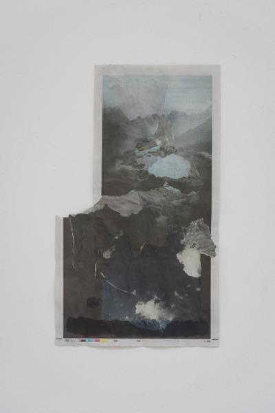 Tony Swain, Untitled, 2015, Acrylic on pieced newspaper, 47 x 22.5 cm