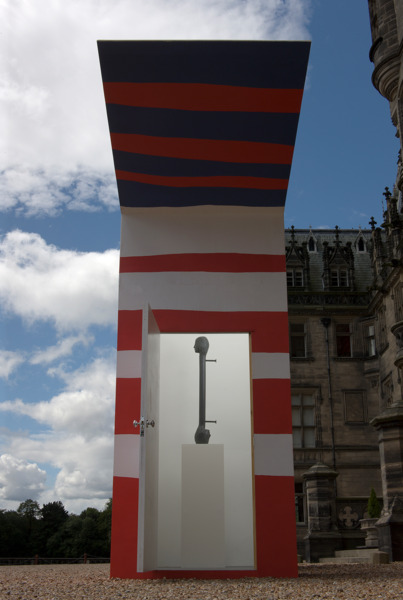 Joanne Tatham & Tom O'Sullivan , The indirect exchange of uncertain value, 2011, Cat structure: Plywood/ timber/ paint, Boot structure: Plywood/ timber/ paint, 590 x 710 x 150 cm; 340 x 500 x 200 cm, Exterior view, Fettes College in Edinburgh, 2011