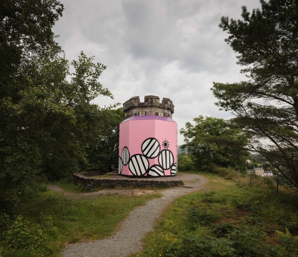 Joanne Tatham & Tom O'Sullivan , Are you LOCATIONALIZED, 2014, Plywood, timber, paint, Dimensions variable, Exterior view, The Apothecary's Tower, Portree, Isle of Skye, 2014