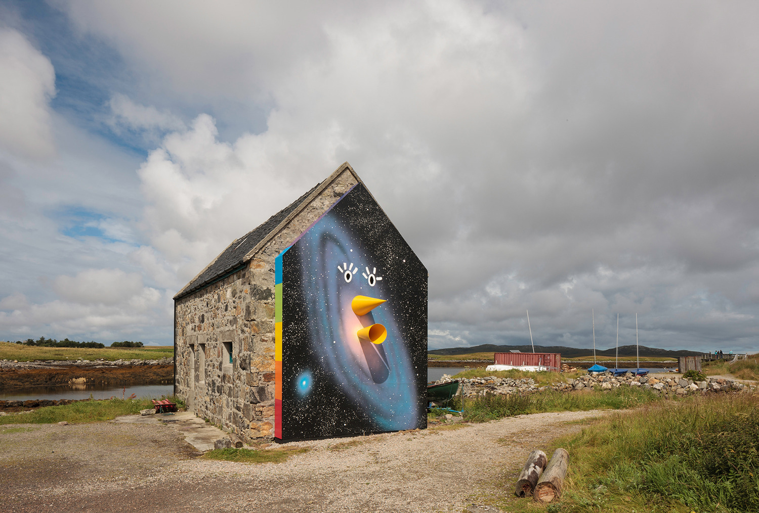 Joanne Tatham & Tom O'Sullivan, Are you LOCATIONALIZED, 2014, Gable end wall, plywood, timber, paint, audio recital, Dimensions variable, Exterior view, The Dairy, Lochmaddy, North Uist, 2014
