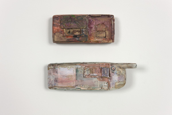 Hayley Tompkins, Tele, 2009, Found objects, gouache, two parts, 5 x 11 x 2 cm; 4.5 x 15 x 2.5 cm
