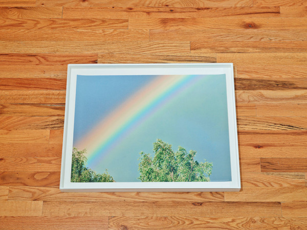 Hayley Tompkins, Rainbow Over Trees, 2013, Stock photograph, wooden box, glass, 5.1 x 67.9 x 52.1 cm
