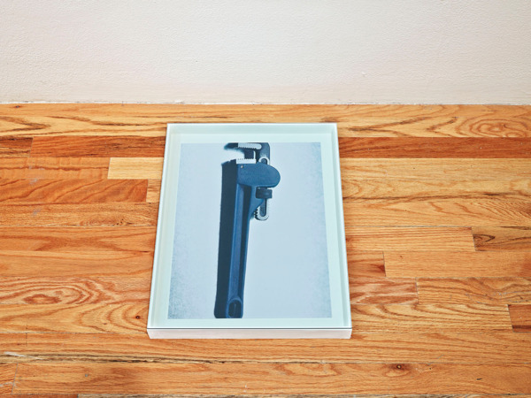 Hayley Tompkins, Wrench, 2013, Stock photograph, wooden box, glass, 5.1 x 36.2 x 47 cm