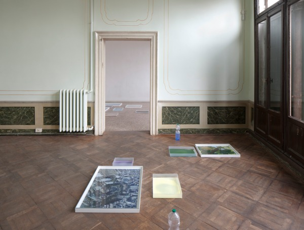 Hayley Tompkins, Digital Light Pool (Orange), 2013, Acrylic on plastic trays, stock photographs, wooden boxes, glass, plastic bottles, watercolour, Dimensions variable, Installation view 'Scotland + Venice 2013: Sworn / Campbell / Tompkins', Venice Biennale, Palazzo Pisani, Venice, 2013