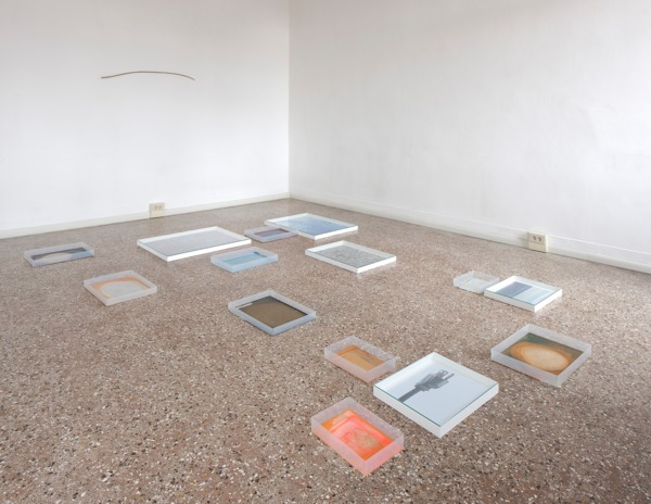 Hayley Tompkins, Digital Light Pool (Stone), 2013, Acrylic on plastic trays, stock photographs, wooden boxes, glass, watercolour, Dimensions variable, Installation view 'Scotland + Venice 2013: Sworn / Campbell / Tompkins', Venice Biennale, Palazzo Pisani, Venice, 2013