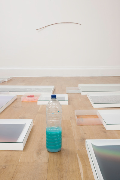 Hayley Tompkins, Digital Light Pool (Earthed), 2014, Acrylic on six plastic trays, stock photographs, wooden boxes, glass, acrylic paint in plastic bottle, artificial food, Dimensions variable, Installation view, 'Scotland + Venice 2013', Common Guild, Glasgow, 2014