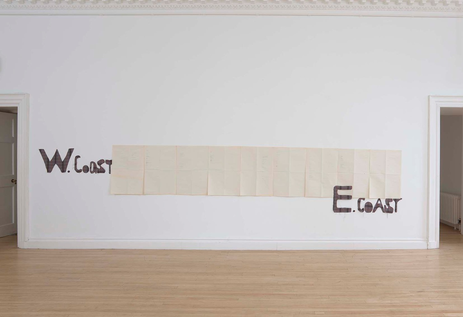 Sue Tompkins, Untitled, 2011, Typewritten text on newsprint, fabric, Dimensions variable, Installation view, Inverleith House, Edinburgh, 2011