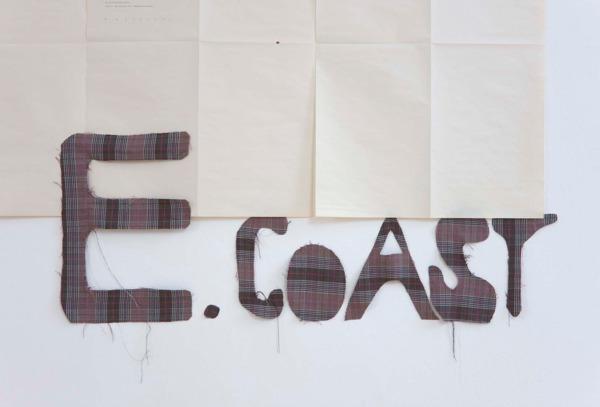 Sue Tompkins, Untitled, 2011, Typewritten text on newsprint, fabric, Dimensions variable, Installation view, Inverleith House, Edinburgh, 2011