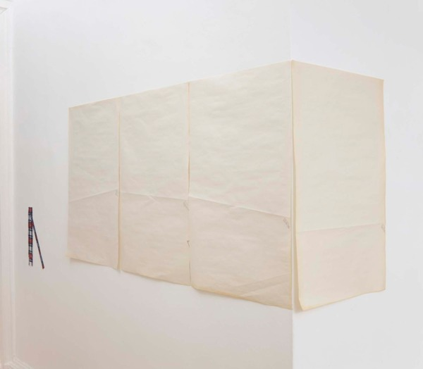 Sue Tompkins, Untitled, 2011, Plastic bag strips, typewritten text on newsprint, Dimensions variable, Installation view, Inverleith House, Edinburgh, 2011